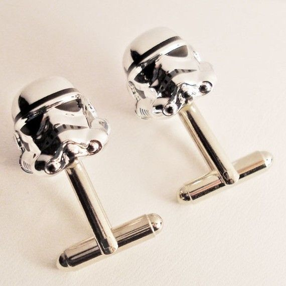 RARE Chrome Star Wars Storm Trooper silver toned cufflinks on Etsy, $65.00