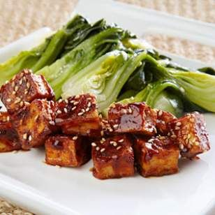 In this healthy Chinese tofu stir-fry recipe, the bok choy is cooked first, then removed from the pan so its juices don't dilute the sauce.