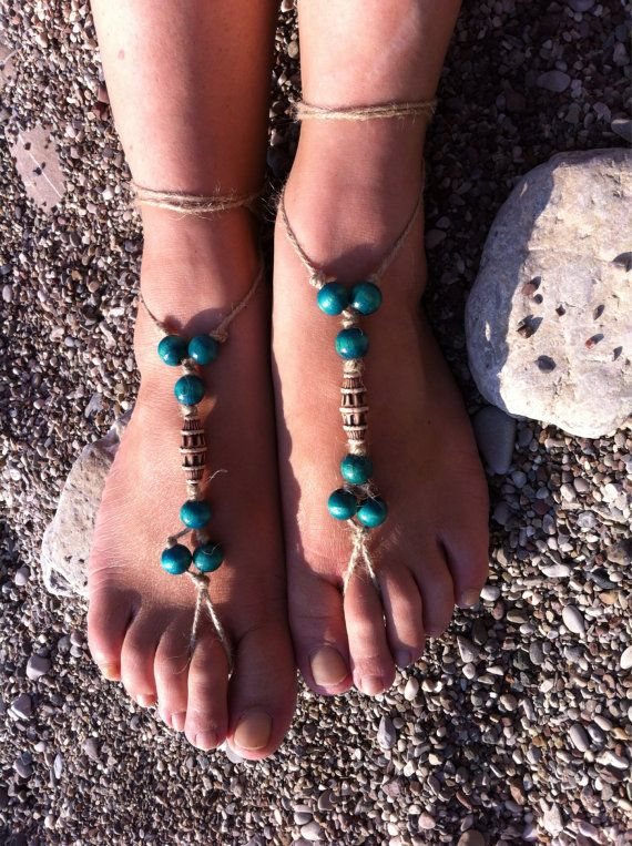 Green barefoot sandal by HIPPYANNE on Etsy, $12.00