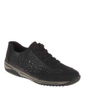 #rieker #Sneaker, #Reptilleder-Look Angenehm leichte Sneaker für Damen der Marke rieker im groben Reptilleder-Look. Die flachen Damenschuhe werden mit einer 5-Loch-Schnürung geschnürt. Sneaker, Reptilleder-Look