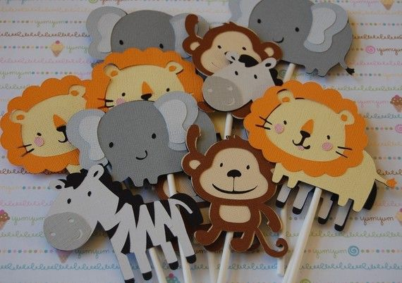 SAFARI Animal Cupcake Toppers- for a centerpiece, diaper cake, flowers or cupcakes!