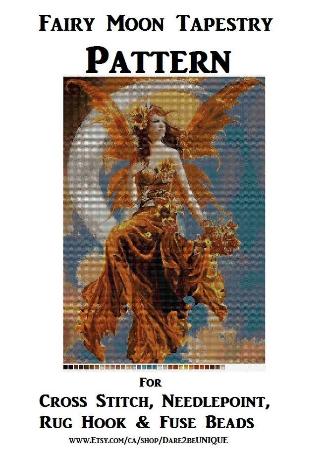 Fairy Moon Tapestry PATTERN, Cross Stitch, Needlepoint, Epic Plastic Canvas, Latch Hook Rug Designs, Perler Patterns Fairies, Download PDF by Dare2beUNIQUE on Etsy
