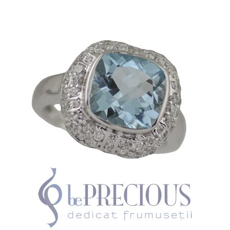 Inel argint cu topaz bleu si zirconii - www.beprecious.ro