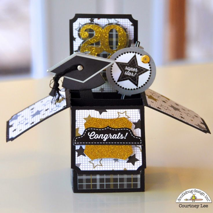 Launch party & giveaway - The Graduates: Pop-up Grad Card by Courtney Lee from Doodlebug Design - love the papers and glittery gold