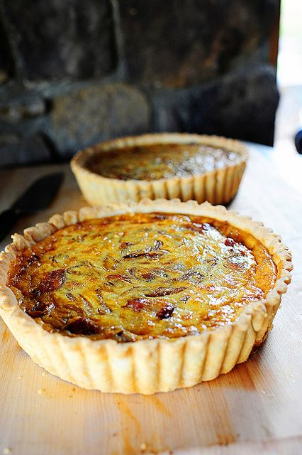 Cowboy Quiche- Yum, with cheddar and bacon instead of Swiss and mushrooms