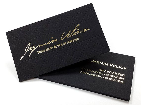 black business cards 100 700gsm foil on double sided with blind impression