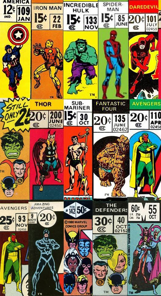 Marvel corner boxes from the Bronze-Age. That is except for the Captain America in the top left corner,which is Silver-Age.