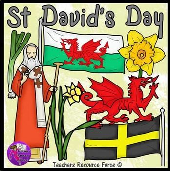 St David's Day clip art - color and black line.  • St David • Daffodil • Daffodil head • Leek • Flag of St David • Welsh flag • Welsh dragon