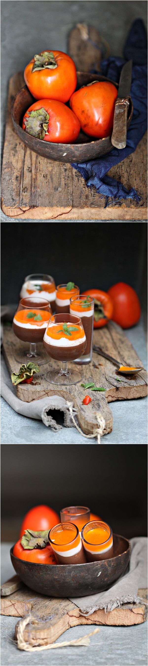 """Dark Chocolate & Persimmon Mousse  """"If it be not ripe, it will draw a man's mouth awry, with much torment, but when it is ripe, it is as delicious as an apricot."""""""