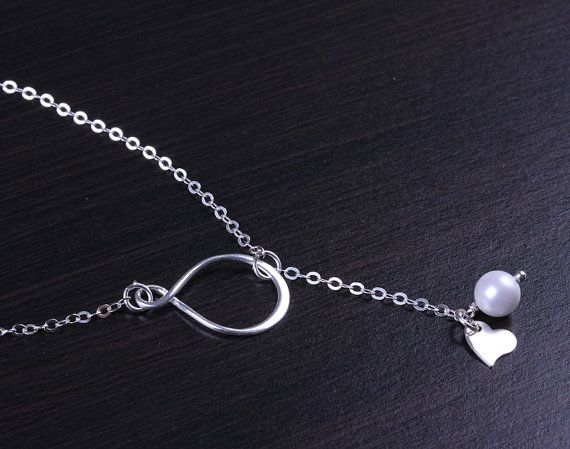 Infinity necklace infinity lariat necklace silver by OlizzJewelry, $25.90
