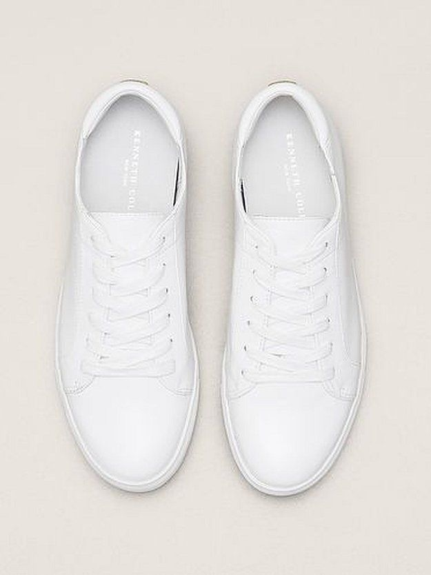 Kam Leather Sneaker Kenneth Cole New York | 9 Plain White Sneakers Fashionistas Love, check it out at http://cuteoutfits.com/plain-white-sneakers-cute-oufits/