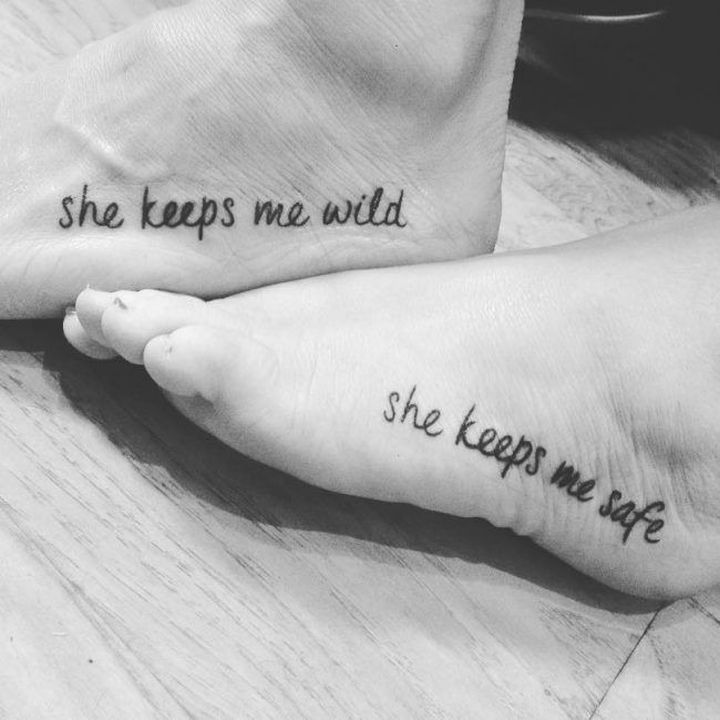 "Foot tattoo for me & babe , I get the ""she keeps me safe"""