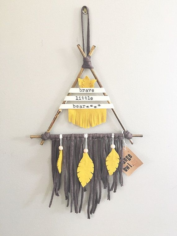 brave little bear teepee wall hanging kids by makersmarketshop