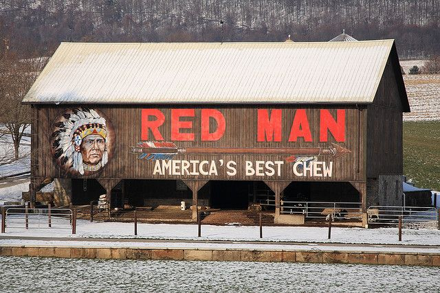 Barn with Red Man advertisement. Reminds me of my Grandpa