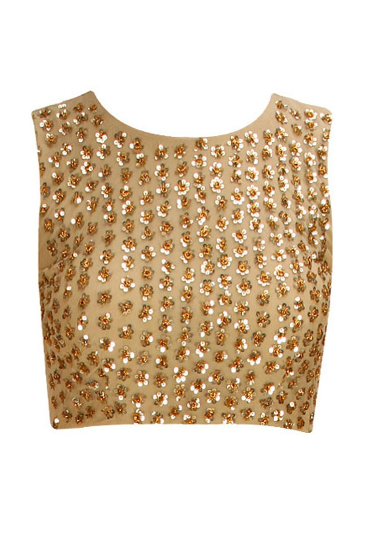 Lehenga blouse design in golden color and mirror work - Possible Sari Blouse Introducing Gold Sequins Embellished Crop Top By Astha Narang Shop Now At Www