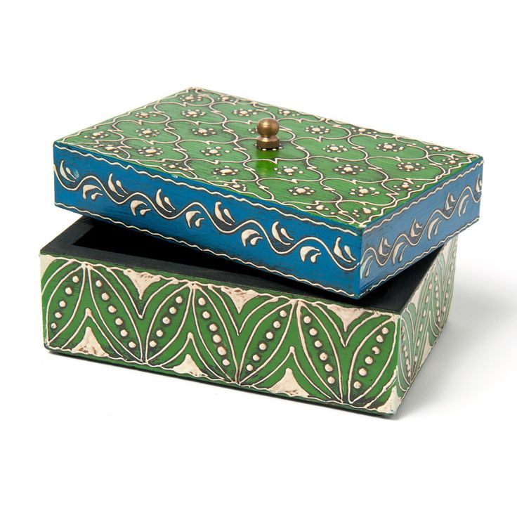 Hand painted Green Mango Wood Small Box with