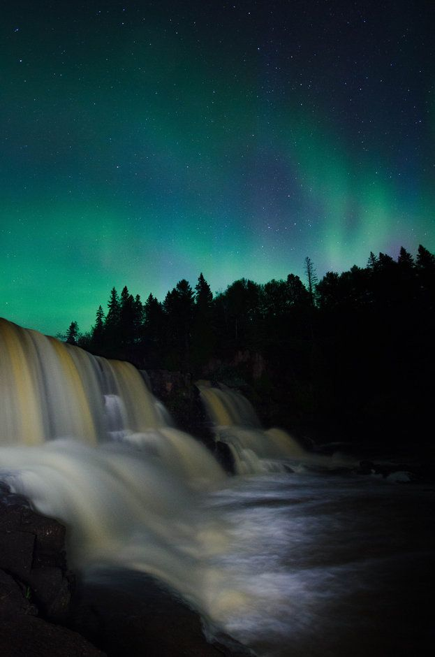 Aurora over Gooseberry Falls, MN by Allison Herreid
