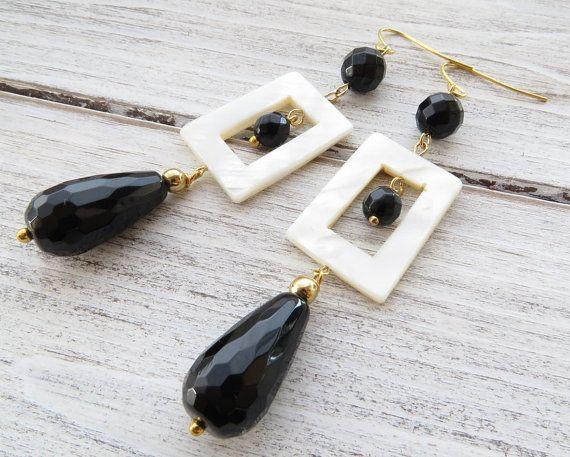 Black onyx earrings, white mother of pearl earrings, dangle earrings, uk stone…