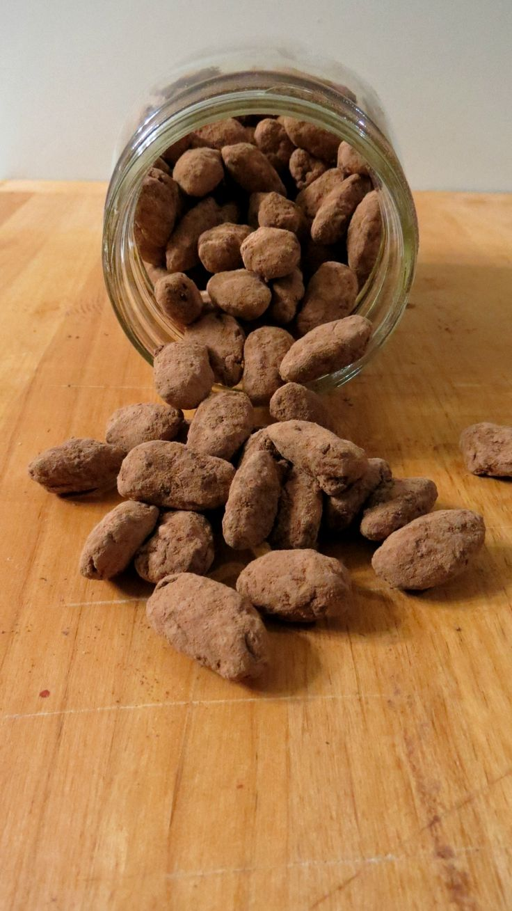 Chocolate Covered Almonds.   - Makes the bed rock ;) or you can buy them on line at Tierra Farm, they are an organic roaster and their nuts are yummy.