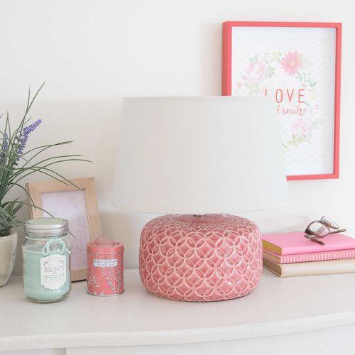 Lampada rosa fucsia in ceramica H 34 cm