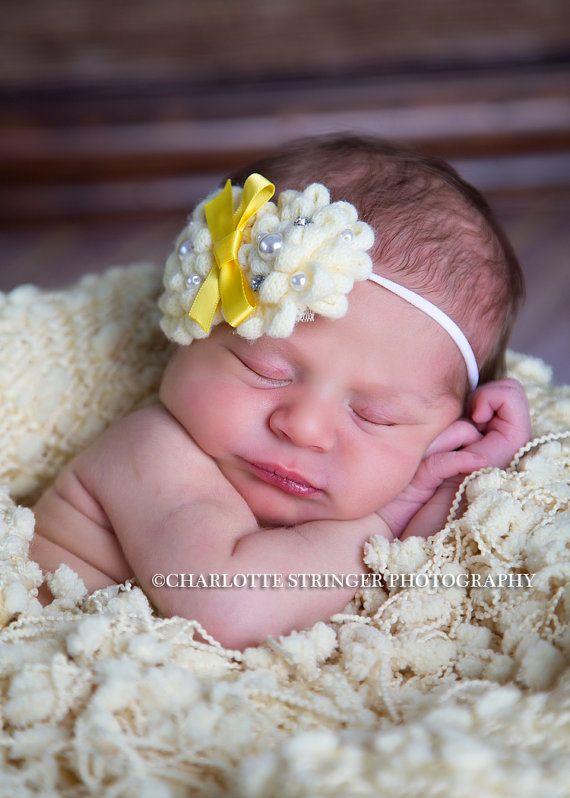 Amarillo soleado flor diadema fotografía Prop bebé recién nacido Rhinestone perlas tejer hilados Boutique del bebé