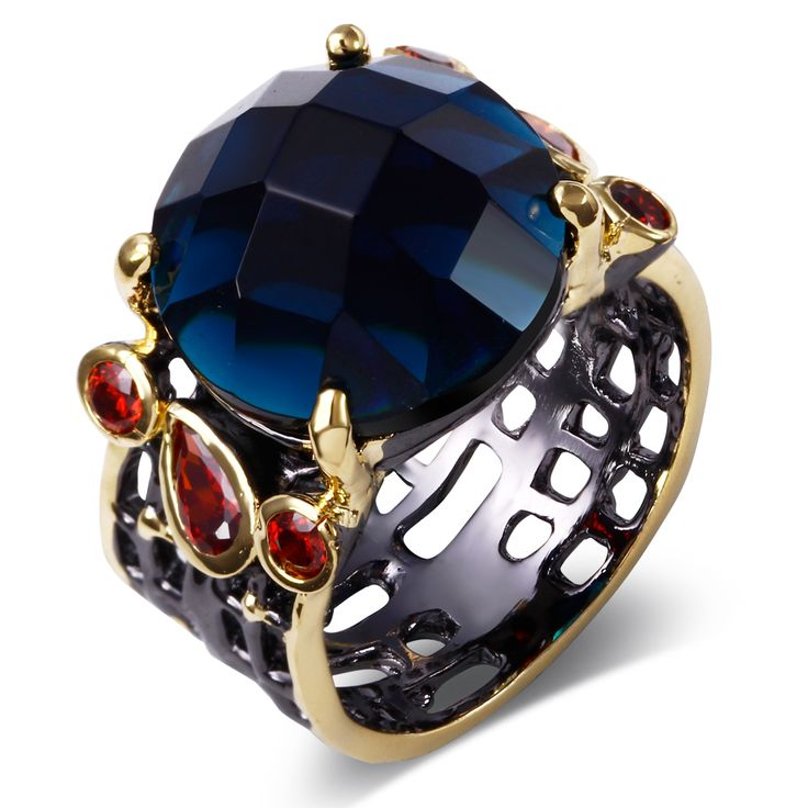 Big round montana crystal ring black and gold 2 tone plate rings pave setting with Blue/Red color cubic zirconia stone jewelry
