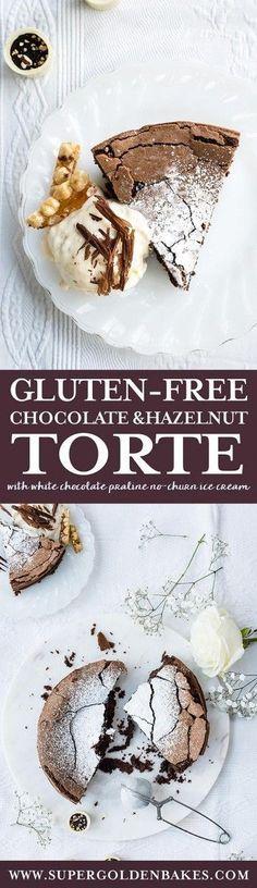Gluten-free chocolate hazelnut torte - a truly heavenly yet easy dessert that's sure to wow especially when served with white chocolate praline no-churn ice cream! #dessert #glutenfree #chocolate #praline #icecream