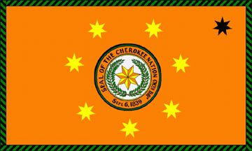 What does the symbolism of the Cherokee flag mean?