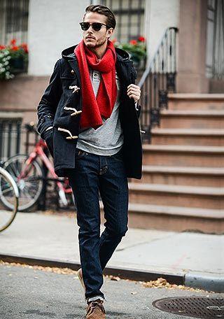 黒ダッフルコート×ジーンズの着こなし【冬】(メンズ) | Italy Web