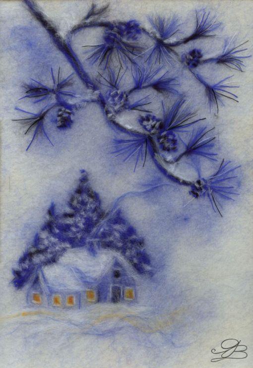 Gallery.ru / Зимний сюжет (переделала) - Шерстяная живопись - yartseva