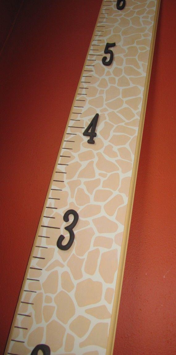 Giraffe Print Wood Growth Chart