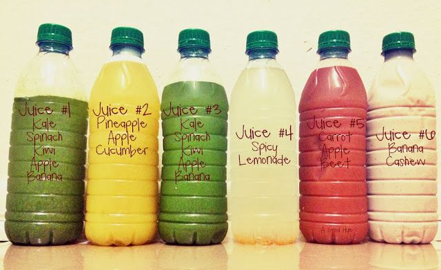 3-Day DIY Juice Cleanse Shopping List for 3 Days: 12 green apples 6 kiwis 1-2 bags kale (I use several handfuls) 1-2 bags spinach (see above ^^) 2 cucumbers 12 red apples 9 bananas 3 carrots 3 beets Pineapple (I picked up 2 6-piece containers and used 4 spears per day) 3 lemons