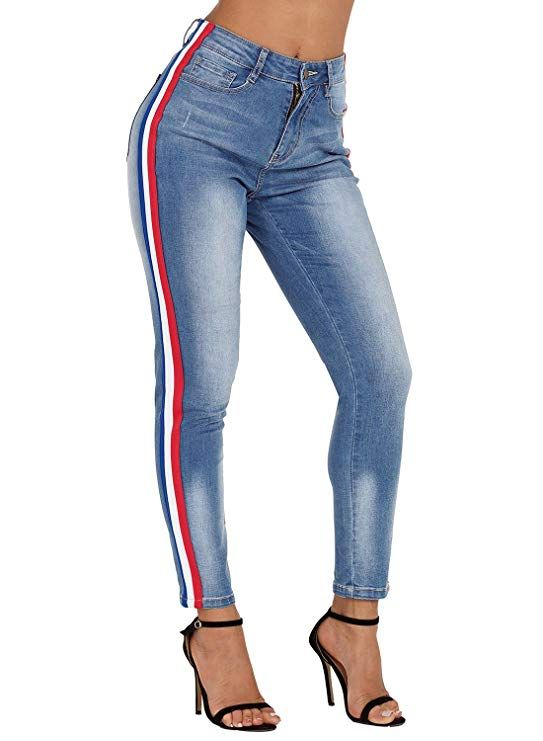 0b9fcb1c662fc1 Sidefeel Striped Skinny Fit Jeans Women Ankle Length Jeans Ladies / Latest  Denim Fashion Trends / Fall Fashion This Year.