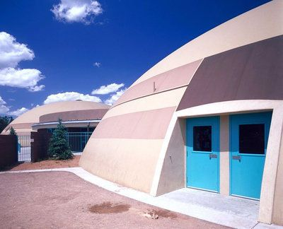 Image: Frontier Elementary School — Three domes containing classrooms, a gymnasium, a media center, a music room, and a cafeteria make up Frontier Elementary School.