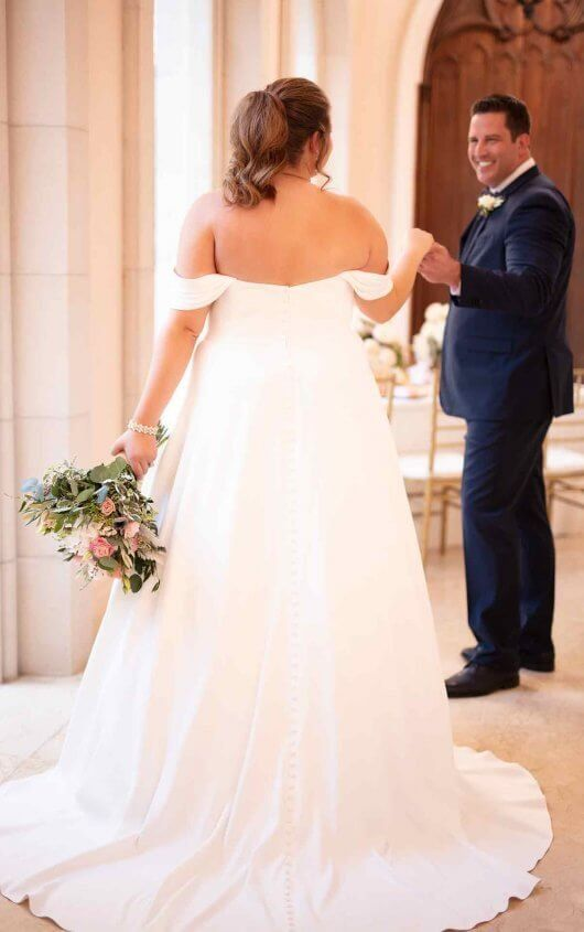 b624286995 6718+ Simple Satin Plus-Size Wedding Dress by Stella York