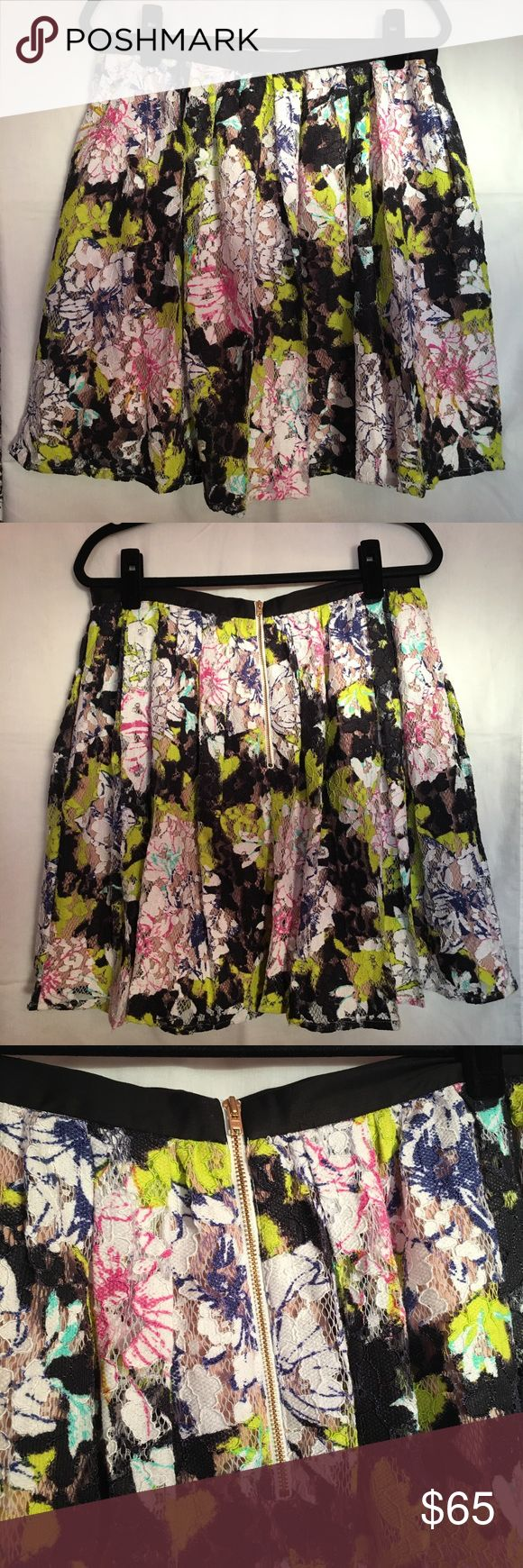French Connection Botanical Trip lace skirt Stunning French Connection Botanical Trip lace skirt in acid Blonde  Size 12  Exposed zipper in the back. Gorgeous gold zipper  Lined in a light tan material.    🚭 Comes from a smoke-free home  🍀 No rips, tears, or stains 🦋 Excellent used condition French Connection Skirts Circle & Skater