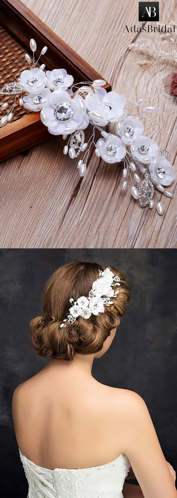 Graceful Alloy Wedding Hair Ornaments With Pearls & Flowers
