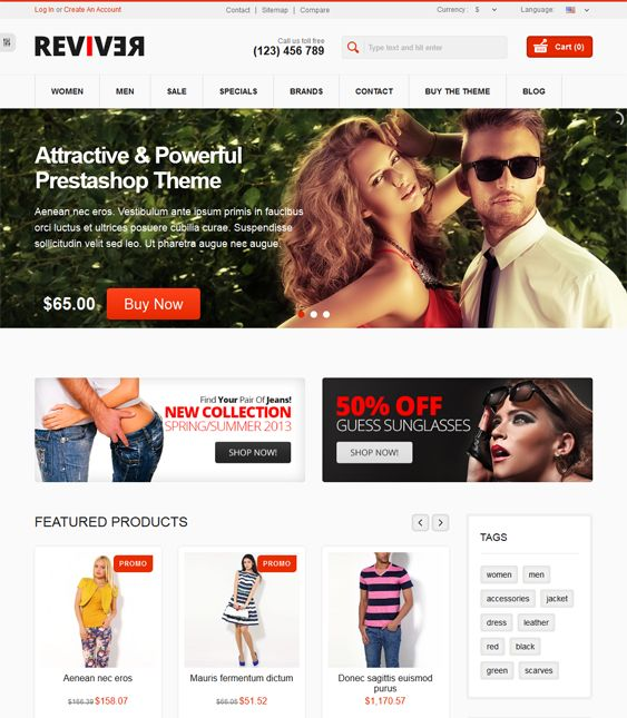 This Bootstrap PrestaShop theme includes a responsive layout, a clean design, Google Rich Snippets, unlimited colors, one page checkout, boxed and wide layouts, wishlist and product comparison, Ajax search,and more.