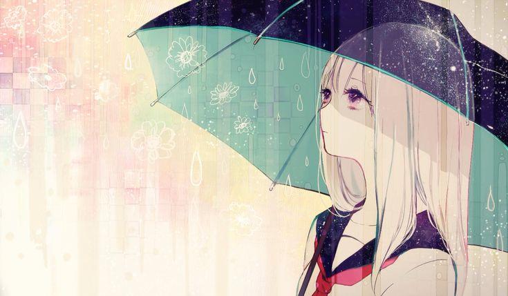 anime girl under umbrella