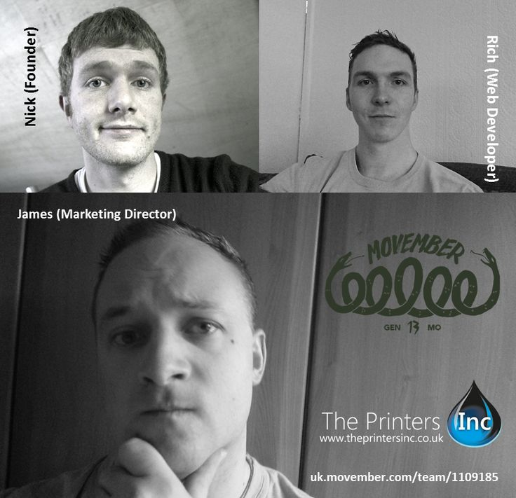 Movember is here! Please help us in our quest to raise money for a whole range of men's health charities. You can donate here http://uk.movember.com/team/1109185