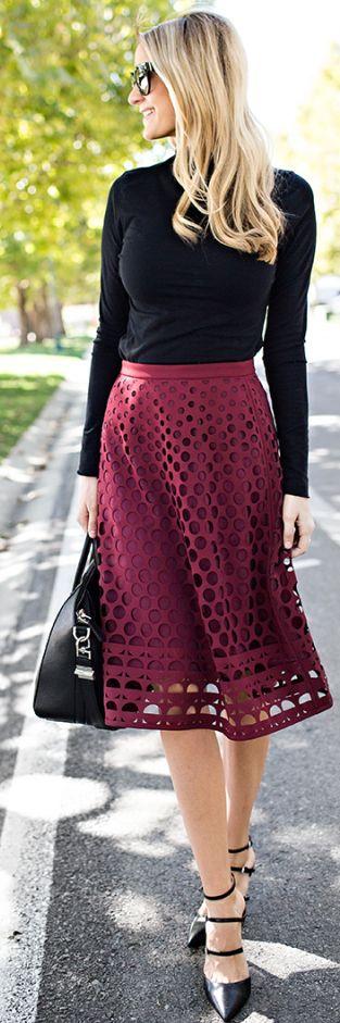 Burgundy Eyelet Skirt Fall Streetstyle women fashion outfit clothing stylish apparel @roressclothes closet ideas
