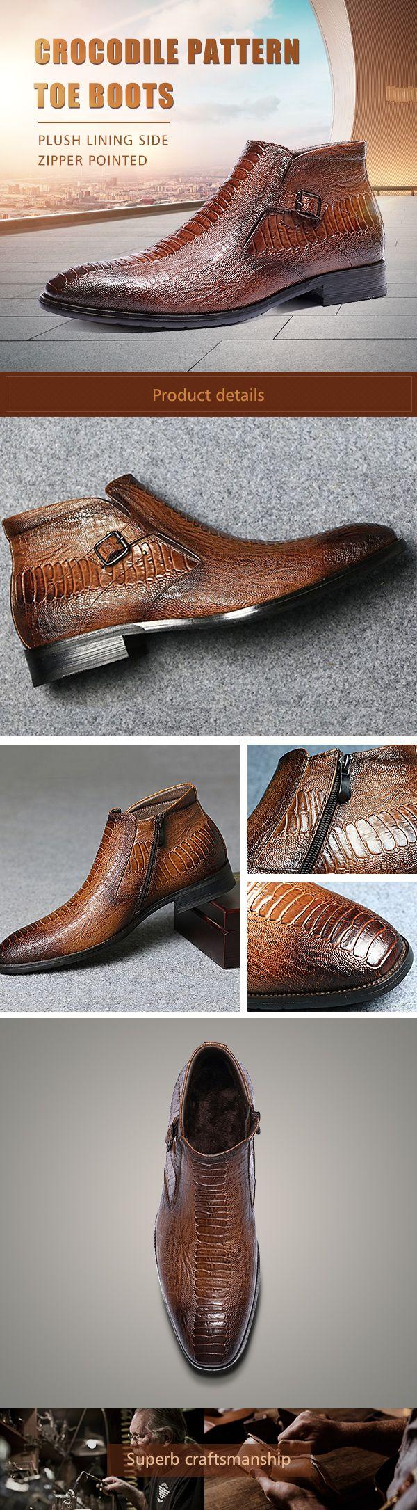US$43.65 Large Size Men Crocodile Pattern Plush Lining Side Zipper Pointed Toe Boots