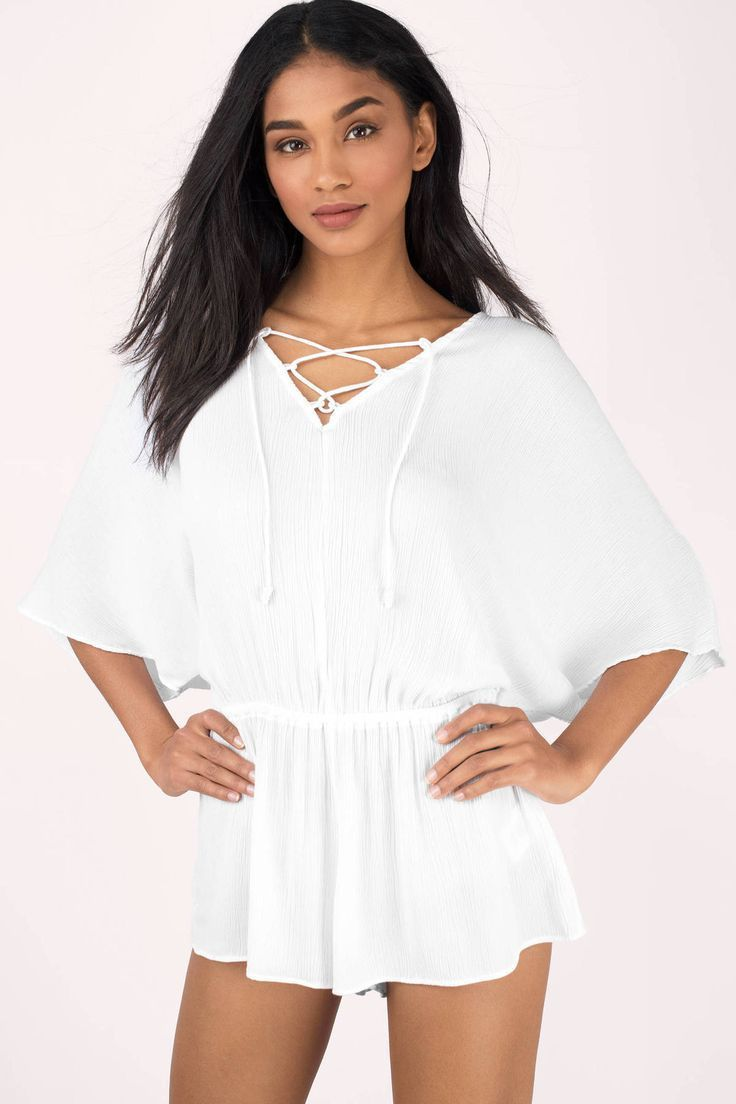 "Search ""Tavik Swimwear Venise White Romper"" on Tobi.com! lace up kimono sleeve plisse drop waist beach coverup swimwear loose fitting batwing sleeved flowy romper white playsuit #ShopTobi #fashion #summer #spring #vacation Basic outfit simple easy chic fashionable stylish style fashion vacation travel essential capsule wardrobe must have casual comfy comfortable trendy spring summer shop buy cheap inexpensive ideas for women teens cute edgy closet fall college outfit outfits"