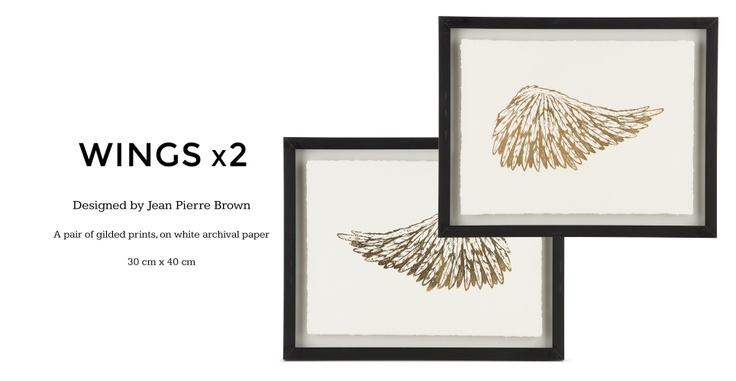 Set of Wings Gilt Framed Prints, 30 x 40cm, Limited Edition by Coup D'Esprit in gold on white | made.com