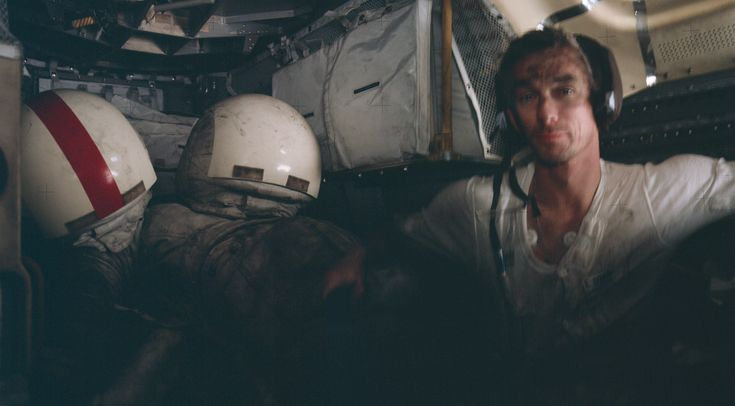 Eugene Cernan rests in the LM after the third EVA of Apollo 17 1972