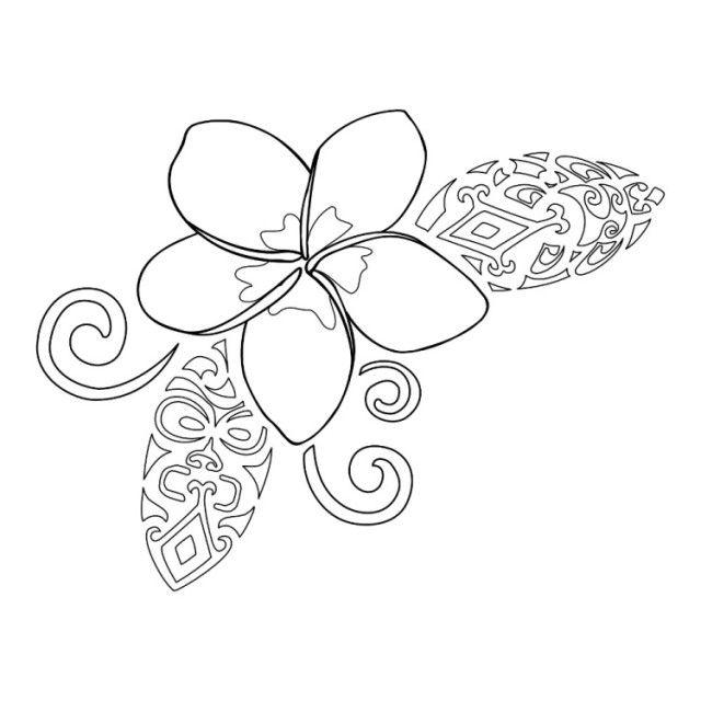 modèle tatouage délicat - Plumeria avec symboles aztèques