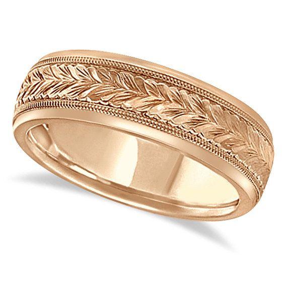 Mano grabado boda Banda tallado 4.5mm anillo 18k de oro rosa