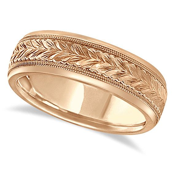 Hand Engraved Wedding Band Carved Ring 18k Rose Gold by Allurez, $987.00