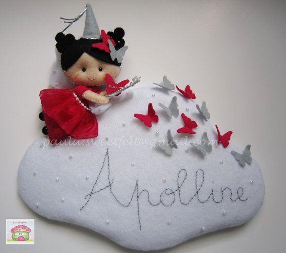 Butterflies Fairy on Cloud Sign por MySweetfelt en Etsy