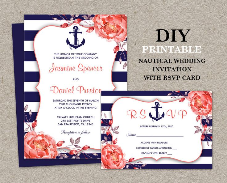 nautical wedding invitation with rsvp card by idesignstationery - Navy And Coral Wedding Invitations